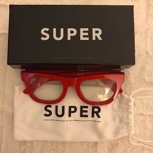 Ciccio Red Clear Eye Glasses.